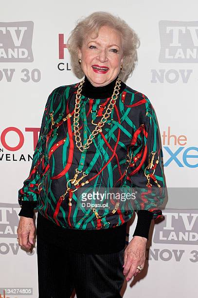 """Betty White attends the TV Land holiday premiere party for """"Hot in Cleveland"""" & """"The Exes"""" at SD26 on November 29, 2011 in New York City."""