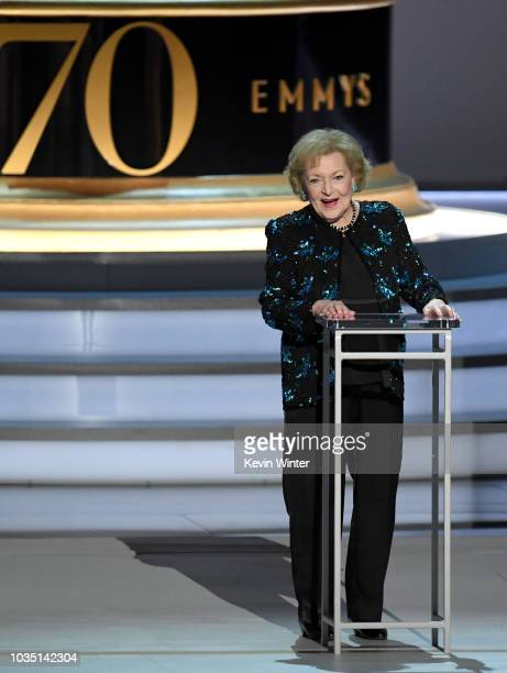 Betty White speaks onstage during the 70th Emmy Awards at Microsoft Theater on September 17 2018 in Los Angeles California