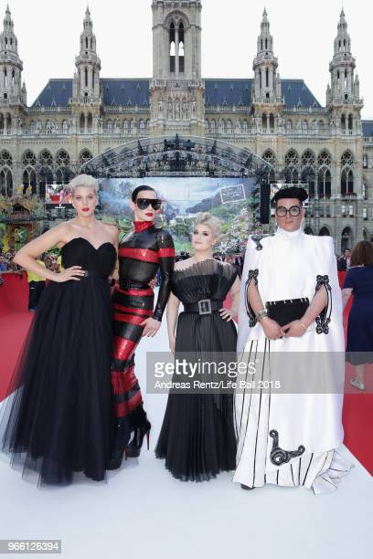 Betty Who Kyle Farmery Kelly Osbourne and Markus Molinari arrive for the Life Ball 2018 at City Hall on June 2 2018 in Vienna Austria The Life Ball...