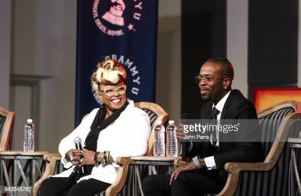 Betty Wright and Jon FX attend the GRAMMY U Conference at Gibson Guitar Showroom on April 7 2018 in Miami Florida