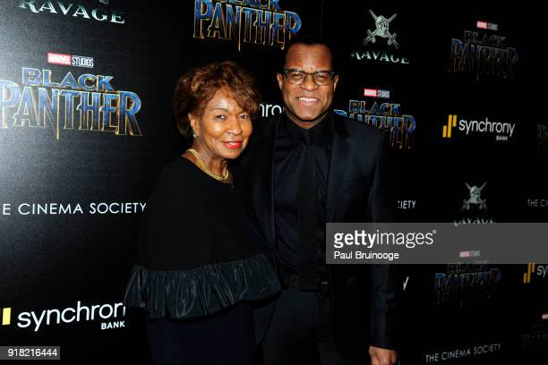 Bettye Fletcher and Geoffrey Fletcher attend The Cinema Society with Ravage Wines Synchrony host a screening of Marvel Studios' 'Black Panther' at...