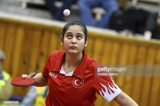 Betul Nur Kahraman of Turkey in action against Mie Skov of Denmark during women's singles table tennis match on last day of B2 Group within the 2019...