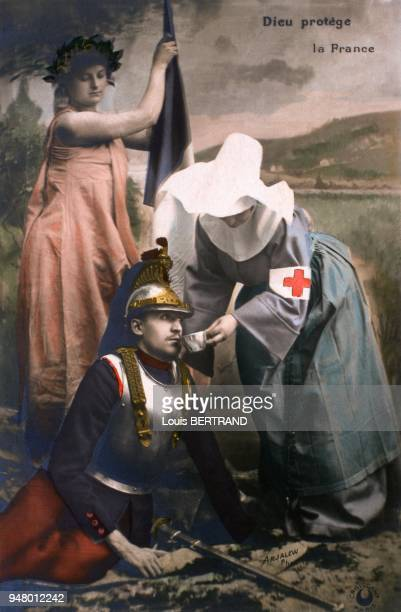 Between 1914 and 1918 an armored frenchman is treated by a nurse from the Red Cross under the kind eye of Marianne holding a tricolored flag This...