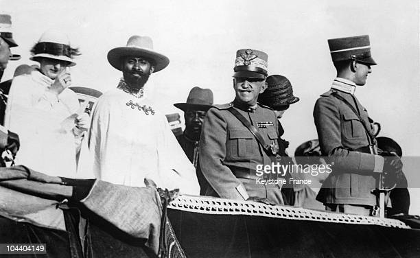 Between 1930 and 1935 Emperor Haile Selassie on official trip in Italy with the King VITTORIOEMANUELE III of Italy and Italian crown Prince Umberto II