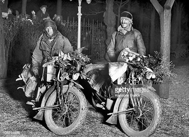 Between 1930 And 1939, Two Famous French Motorcyclist, Sexe And Andrieux Arrive In Paris After Their World Tour On Motorcycles.