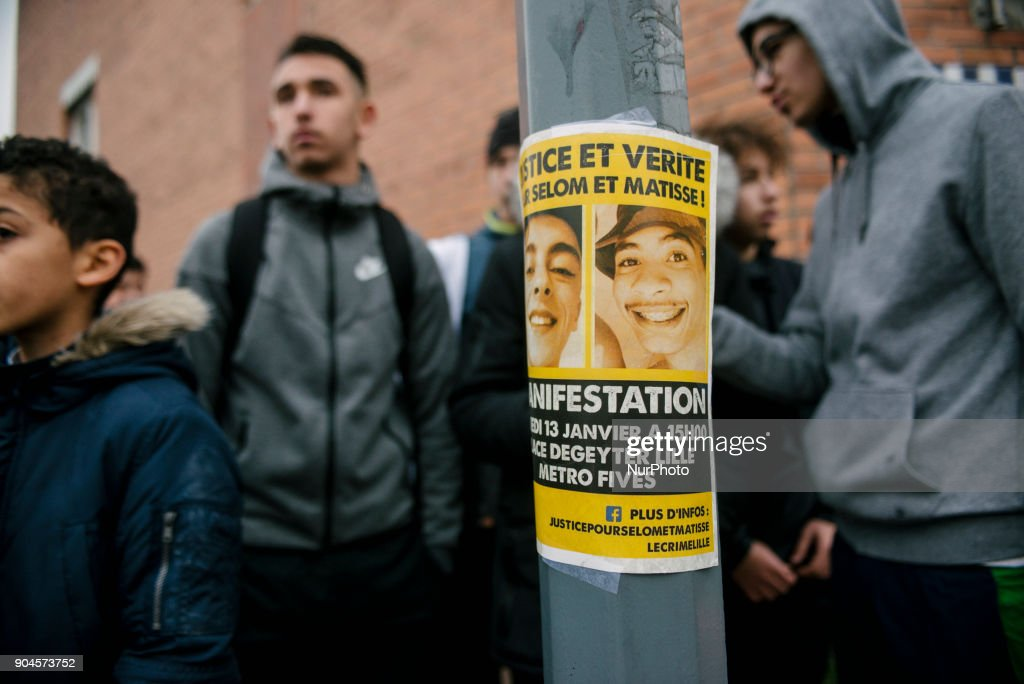 Between 200 and 300 people gathered on January 13, 2018, in Fives in Lille, France for a white march for Sélom and Matisse, two young people from the Fives neighborhood, who were killed by a train on December, 15, 2017. Families and their supporters are demanding justice and truth so that the police can no longer run young people who are crushed by a train. At the end of the march, the families dropped white balloons in memory of the two young people.