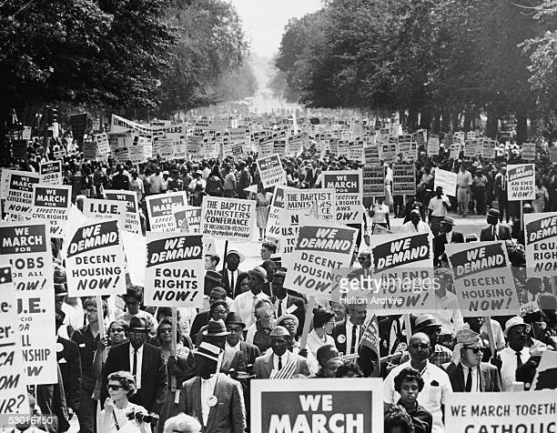 Between 200,000 and 500,000 demonstrators march down Constituition Avenue during the March on Washington for Jobs and Freedom, Washington DC, August...