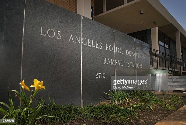 Between a flower and a trash can stands the sign for the scandalwracked Los Angeles Police Department Rampart Station where Los Angeles Mayor Richard...