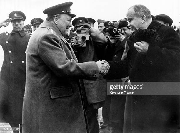 Between February 4 and 11 during the Yalta conference in the Crimea British Prime Minister Winston CHURCHILL shakes hands with MOLOTOV head of the...