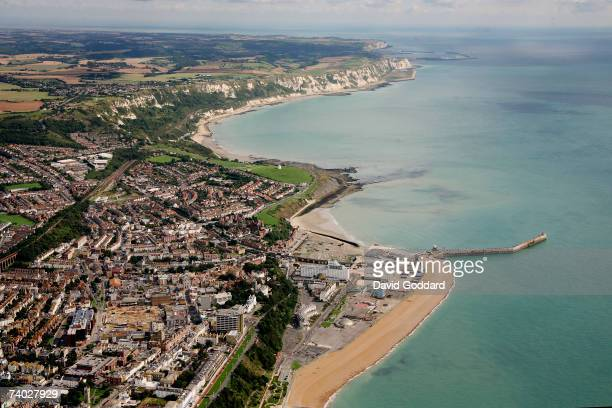 Between Hythe and Dover is historical harbour town of Folkestone in this aerial photo taken on 9th September 2006