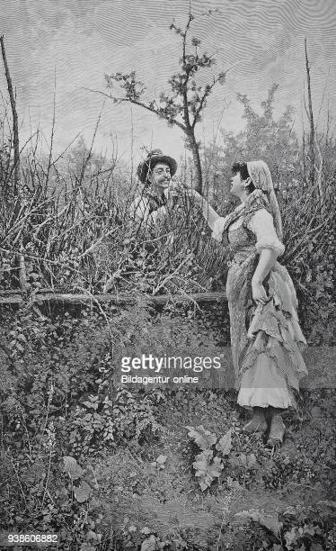 Between roses and thorns man and woman meet at the edge of the field peasants in 1850 illustration published in 1880