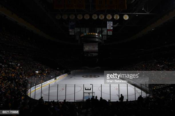 Between the periods of the Boston Bruins against the Philadelphia Flyers at the TD Garden on March 11 2017 in Boston Massachusetts