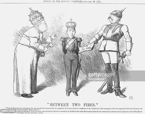 Between Two Fires 1875 Pope Pius IX is on the left of this cartoon and Bismarck of Germany on the right In the middle is the young son of the...