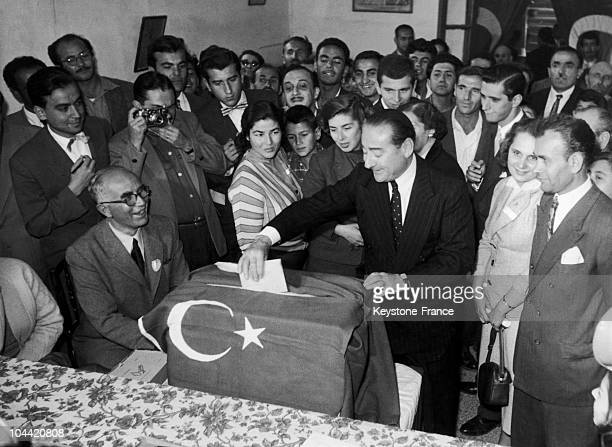 Between1954 And 1957 The Prime Minister And Leader Of The Turkish Democratic Party Adnan Menderes Voting In Ankara During The General Elections The...