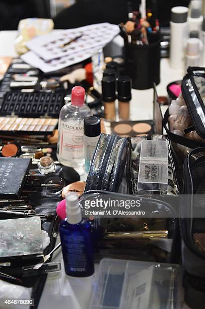 Beuaty products are seen backstage ahead of the Nicholas K show during the Milan Fashion Week Autumn/Winter 2015 on February 27 2015 in Milan Italy