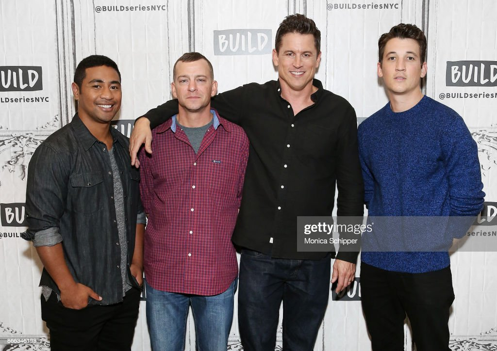 Beulah Koale, Adam Schumann, Jason Hall and Miles Teller discuss 'Thank You For Your Service' at Build Studio on October 25, 2017 in New York City.