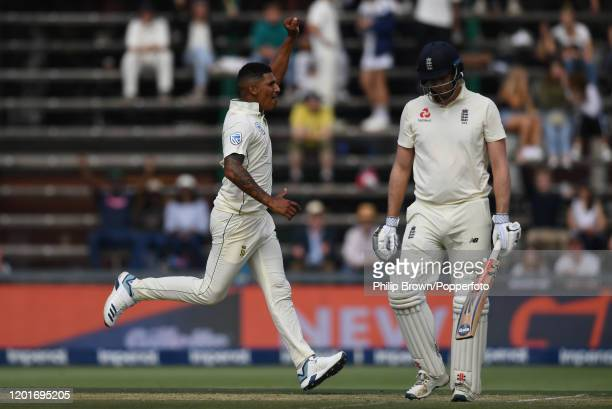 Beuran Hendricks of South Africa celebrates after the dismissal of Dom Sibley of England during Day One of the Fourth Test between England and South...