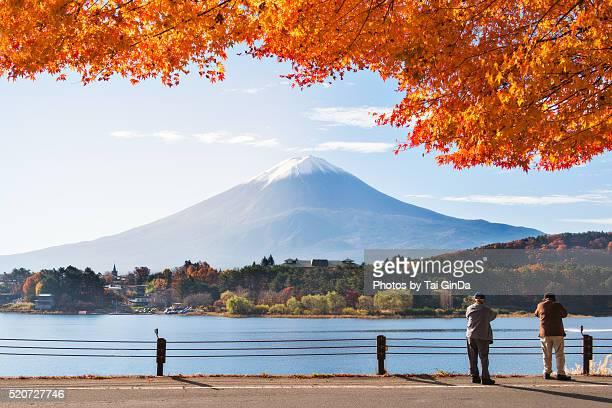 Beutiful viwe of Kawaguchiko lake , Autumn