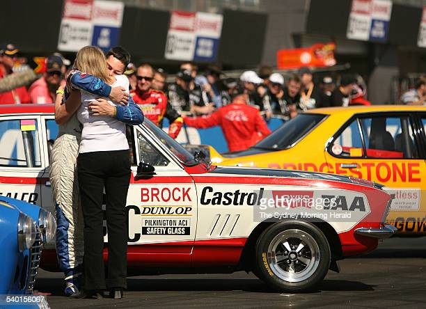 Bev Brock former partner of racing car driver Peter Brock wishes Craig Lowndes good luck moments before the Peter Brock memorial prior to the...