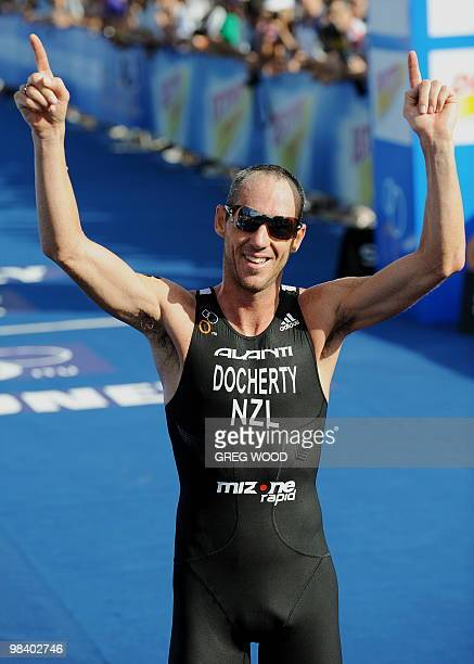 Bevan Docherty of New Zealand reacts after crossing the finish line during the men's section at the Sydney round of the ITU World Championship...