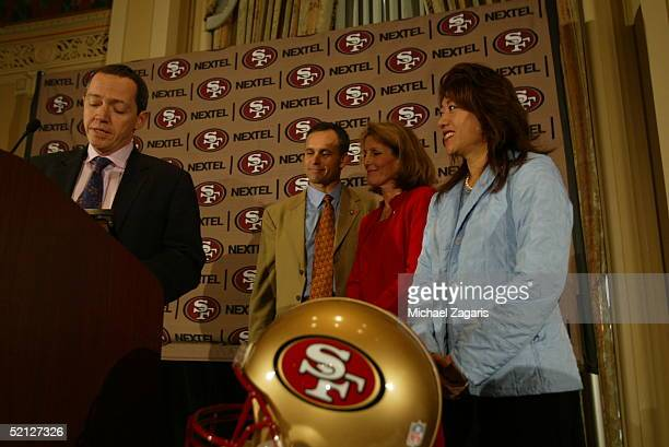 Bevan Duffy introduces Mike Nolan as the Head Coach of the San Francisco 49ers alongside Kathy Nolan at the Mark Hopkins Hotel in San Francisco...