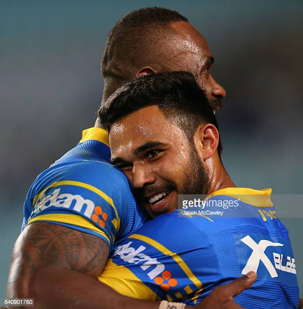 Bevan French of the Eels celebrates a try with Semi Radradra during the round 15 NRL match between the South Sydney Rabbitohs and the Parramatta Eels...