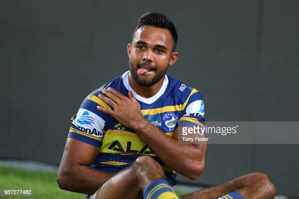 Bevan French of the Eels during the round three NRL match between the Parramatta Eels and the Cronulla Sharks at ANZ Stadium on March 24 2018 in...