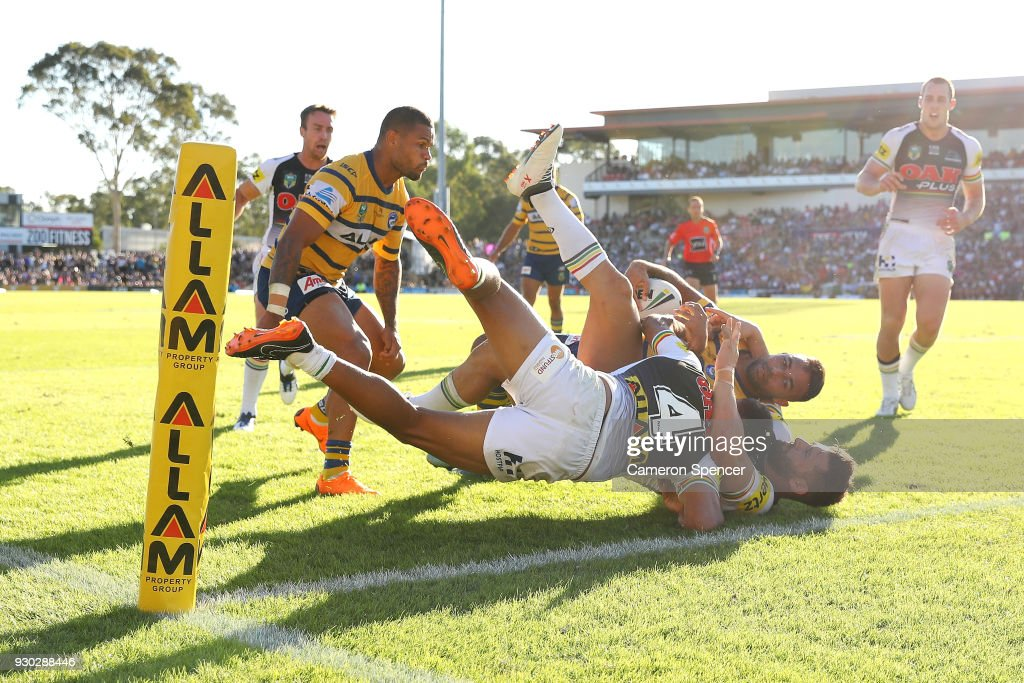 Bevan French of the Eels is tackled short of the tryline during the round one NRL match between the Penrith Panthers and the Parramatta Eels at Panthers Stadium on March 11, 2018 in Sydney, Australia.