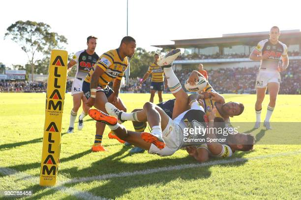 Bevan French of the Eels is tackled short of the tryline during the round one NRL match between the Penrith Panthers and the Parramatta Eels at...