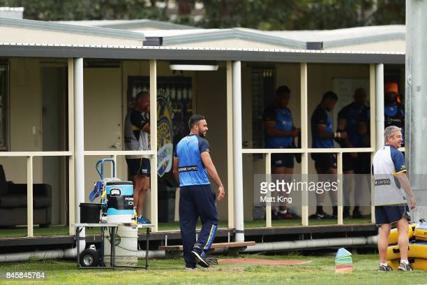 Bevan French of the Eels looks on from the sideline during a Parramatta Eels NRL training session at Old Saleyards Reserve on September 12 2017 in...