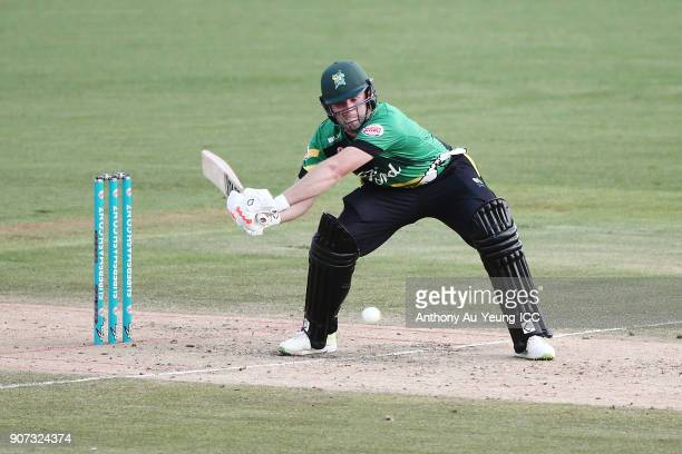 Bevan Small of the Stags bats during the Super Smash Grand Final match between the Knights and the Stags at Seddon Park on January 20 2018 in...