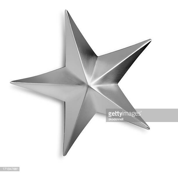 beveled silver metal star isolated on a white background - silver metal stock pictures, royalty-free photos & images