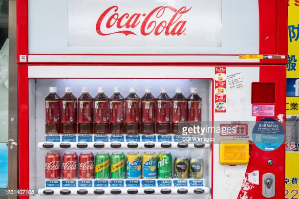 Beverage and soda, such as Coca-cola, vending machine seen in Hong Kong.