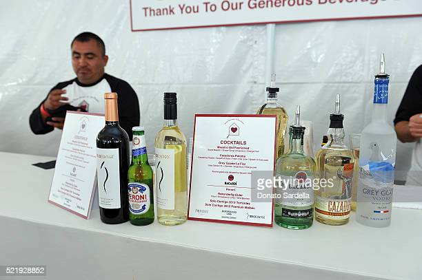 Beverage bottles and drink menus on display at the John Varvatos 13th Annual Stuart House benefit presented by Chrysler with Kids' Tent by Hasbro...