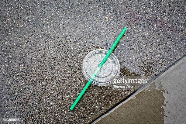 Beverage container lid and straw