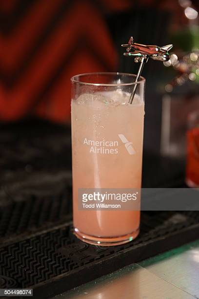 A beverage with airplane swizzle stick is displayed at the FOX Golden Globe Awards Awards Party 2016 sponsored by American Airlines at The Beverly...