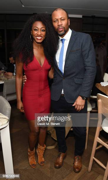 Beverley Knight and Bryan Chambers attend Beverley Knight's birthday party at The May Fair Hotel on March 22 2018 in London England