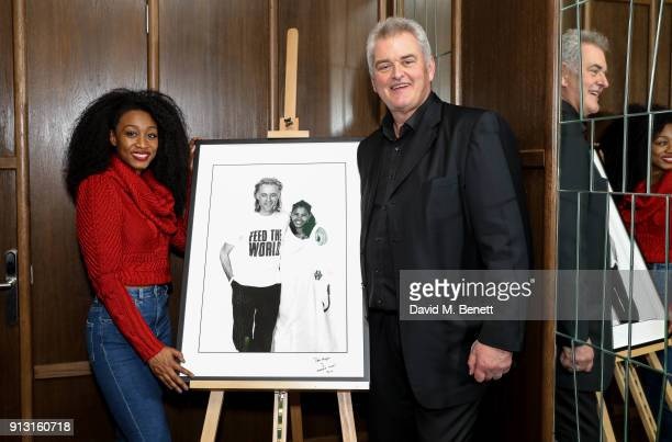 Beverley Knight and Dave Hogan attend the launch of 'Hogie's Heroes' an exhibition and charity auction celebrating 40 years of Dave Hogan's...