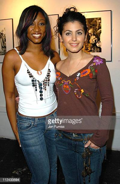 Beverley Knight and Katie Melua during Beyond Band Aid Exhibition Private View in London Great Britain