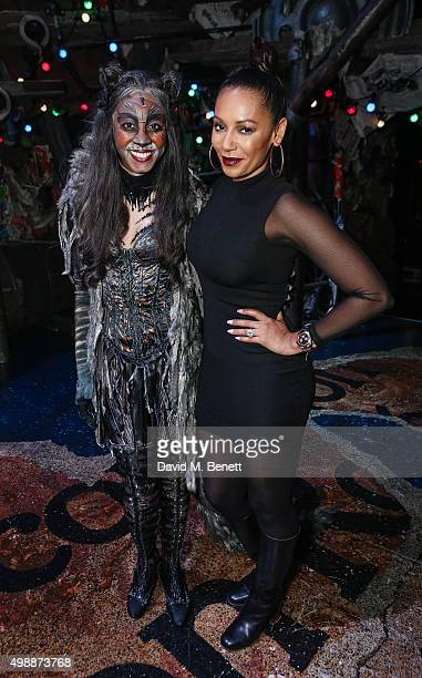 Beverley Knight and Mel B following a performance of 'Cats' at The London Palladium on November 26 2015 in London England