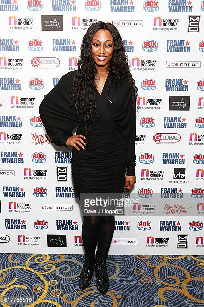 Beverley Knight attends the Nordoff Robbins Boxing Dinner at the London Hilton Park Lane on October 24 2016 in London England