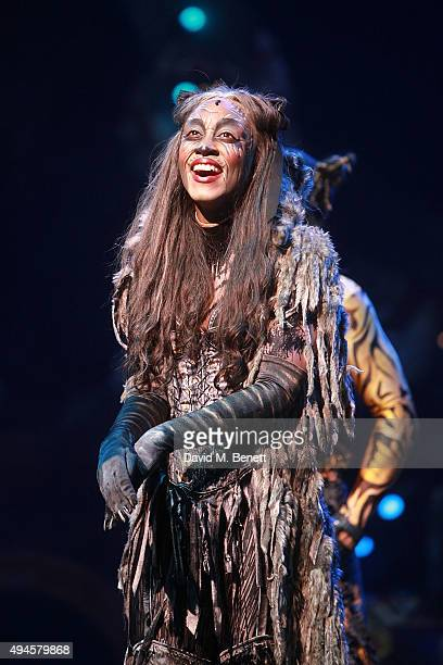 """Beverley Knight during the curtain call following the press night performance of """"Cats"""" at the London Palladium on October 27, 2015 in London,..."""