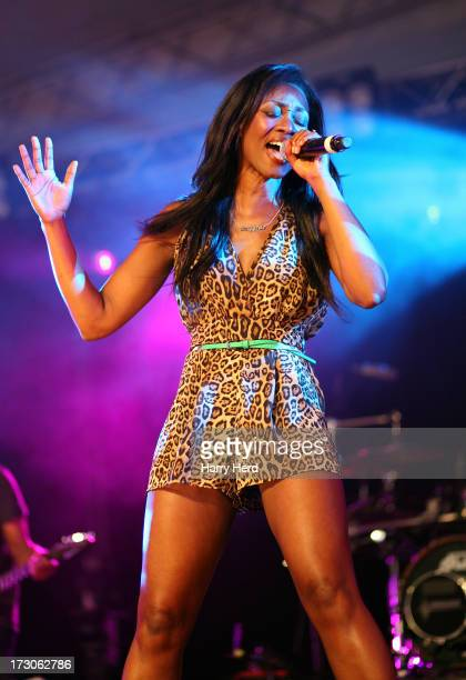 Beverley Knight performs on stage on Day 1 of the Cornbury Music Festival 2013 at Great Tew Estate on July 5 2013 in Oxford England