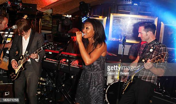 Beverley Knight sings with The Feeling during their perform at The 50th Birthday Celebration of Annabel's Nightclub on September 27 2013 in London...