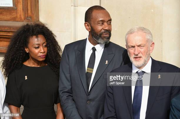 Beverley Knight Sir Lenny Henry and Labour Party Leader Jeremy Corbyn depart after attending the 25th Anniversary Memorial Service to celebrate the...