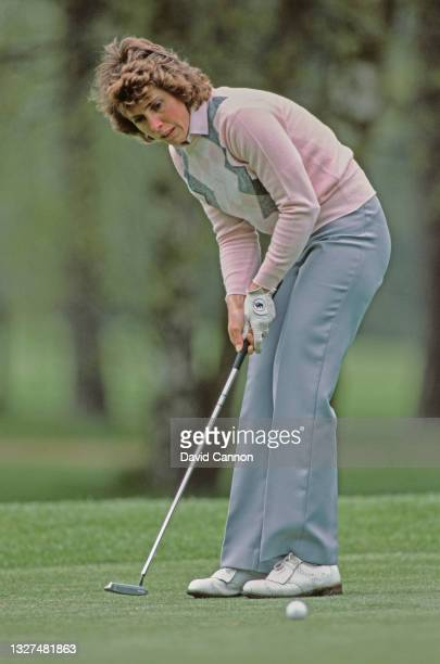 Beverley Lewis of Great Britain follows her putt to the hole during the Ladies European Tour Ford Ladies' Classic golf tournament on 7th May 1983 at...