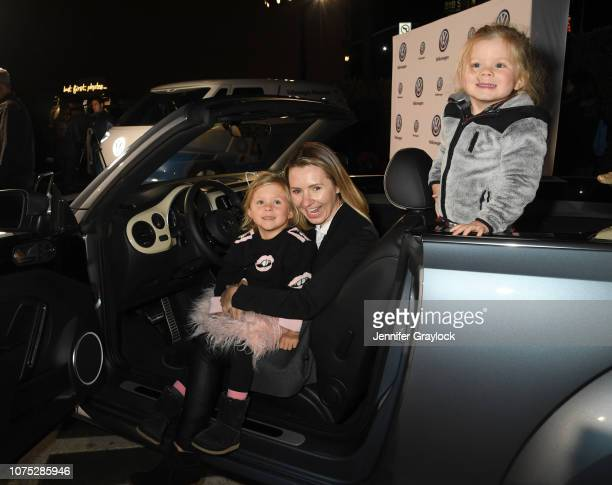 Beverley Mitchell and children Kenzie Cameron and Hutton Michael Cameron attend the Volkswagen DriveIn Event at Goya Studios on November 30 2018 in...
