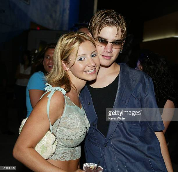 Beverley Mitchell and David Gallagher 7th Heaven at WB Television Network's 2002 Summer Party at the Renaissance Hollywood Hotel in Los Angeles Ca...