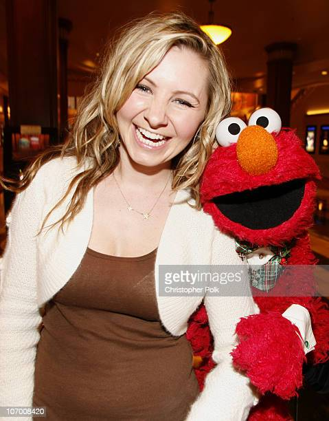 Beverley Mitchell and Elmo during Hollywood Christmas Celebration From The Grove Backstage at The Grove in Los Angeles California United States