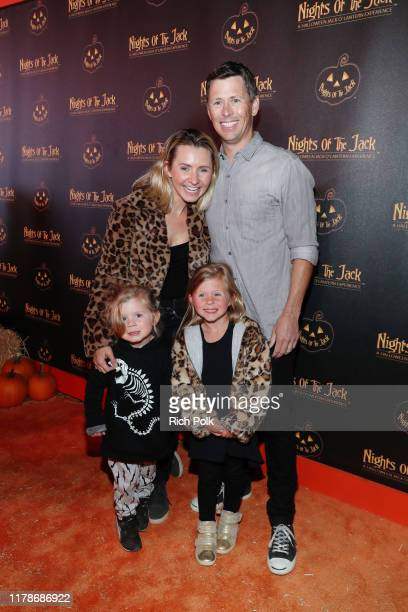 Beverley Mitchell and Michael Cameron and family attend Nights of the Jack Friends Family Night 2019 on October 02 2019 in Calabasas California
